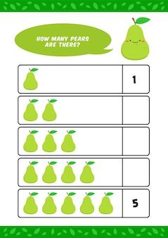 Niño, niños, jardín de infantes, educación en el hogar, contar, aprender, hoja de trabajo, con, lindo, pera, fruta, ilustración, plantilla