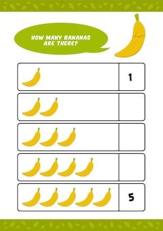 Niño, niños, jardín de infantes, educación en el hogar, contar, aprender, hoja de trabajo, con, lindo, plátano, fruta, ilustración, plantilla