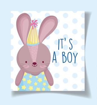 Niño o niña, el género revela que es un conejo lindo niño con tarjeta de decoración de sombrero de fiesta