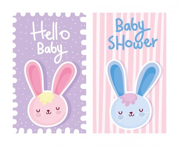 Niño o niña, género revelan hola bebé tarjeta linda conejos