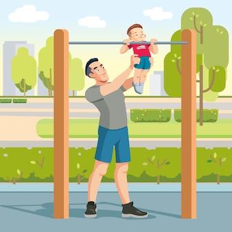 Niño con padres haciendo ejercicio al aire libre y los padres ayudan a ponerse al día en la barra horizontal. paternidad crianza de los hijos. .