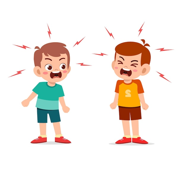 Niño pelea y discute con su amigo.