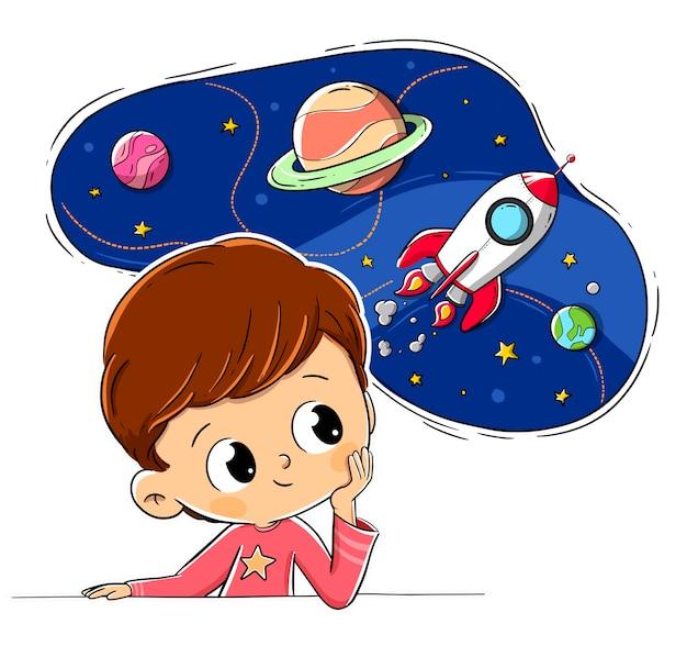Niño pensando imaginando espacio