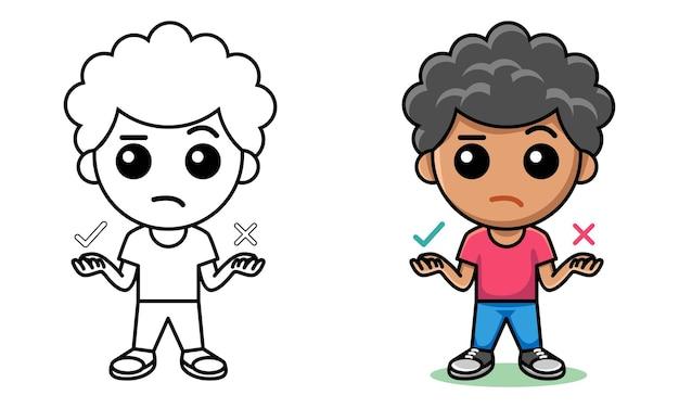 Niño pensando en opciones página para colorear para niños