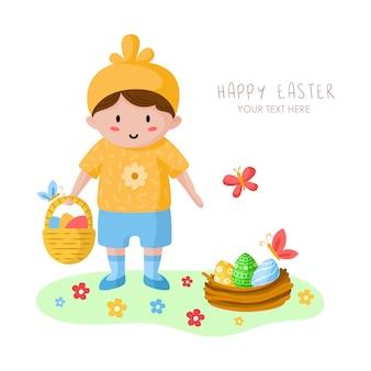 Niño pequeño de dibujos animados en el día de pascua, niño feliz en traje de pollo de vacaciones, flores, mariposas y nidos de pájaros