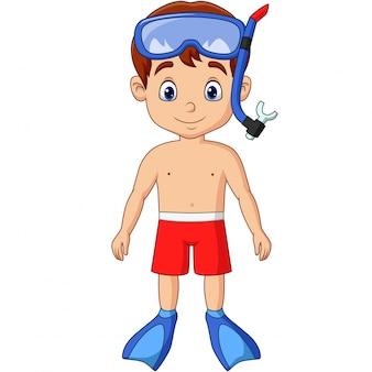 Niño pequeño de dibujos animados con equipo de snorkel