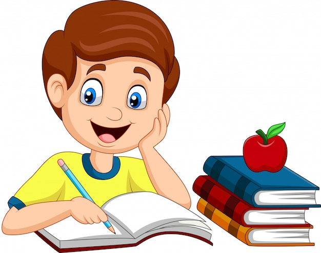 Niño pequeño de dibujos animados estudiando