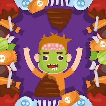 Niño pequeño con disfraz de zombie y personaje de caramelos