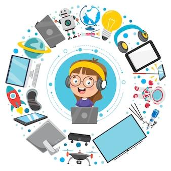 Niño pequeño y dispositivos tecnológicos