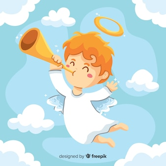 Niño pequeño estilo dibujado a mano ángel
