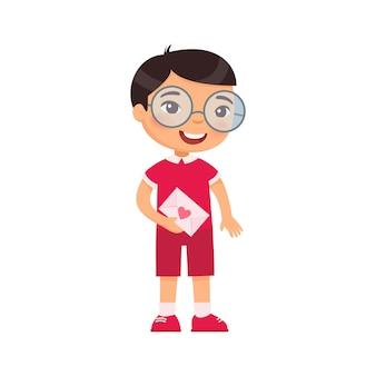 Niño pequeño con ilustración de vector plano de carta de amor