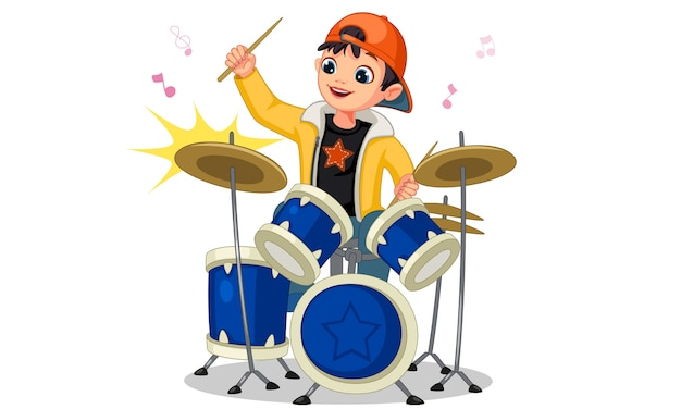 Niño pequeño, juego, tambor, conjunto, ilustración