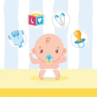 Niño pequeño con juguetes y accesorios