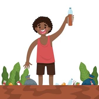 Niño pequeño muestra agua sucia en la botella