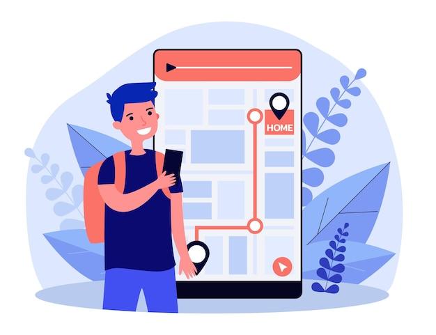 Niño pequeño con navegador en el teléfono inteligente. aplicación, ruta, ilustración plana de inicio. concepto de navegación y tecnología digital