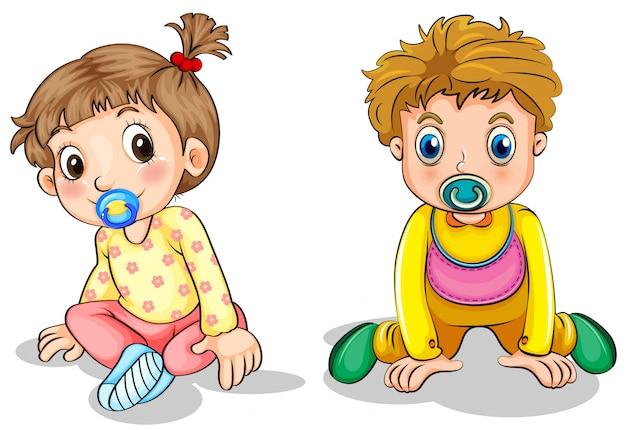 Un niño pequeño y una niña pequeña.