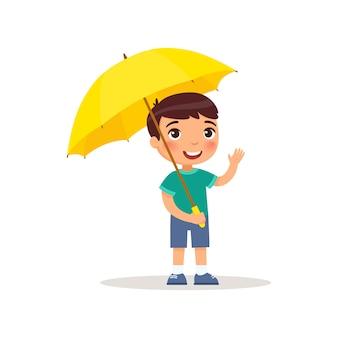 Niño pequeño que se coloca debajo de un paraguas. ilustración de vector sobre fondo blanco, estilo de dibujos animados