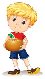 Niño pequeño que sostiene el bollo de pan
