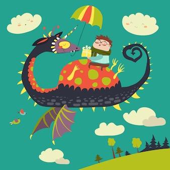 Niño pequeño sentado en el dragón