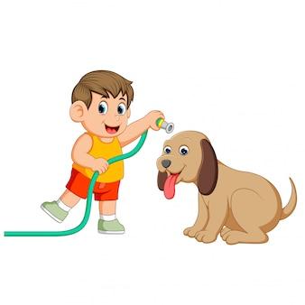Un niño pequeño con la tela amarilla limpiará su gran perro marrón con la pipa