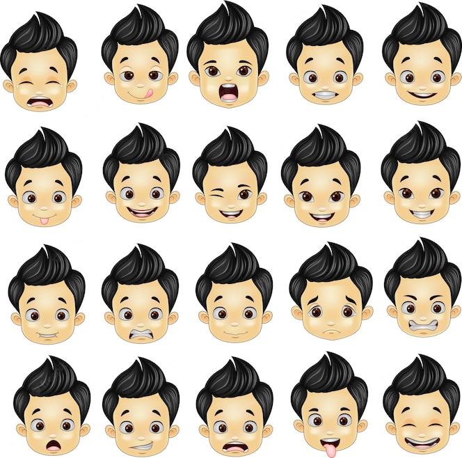 Niño pequeño varias expresiones faciales