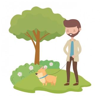Niño con perro de dibujos animados