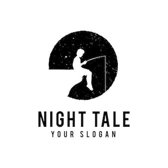 Niño pescando en medio de la noche, ilustración vectorial