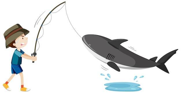 Niño pescando tiburón bebé personaje de dibujos animados aislado sobre fondo blanco.