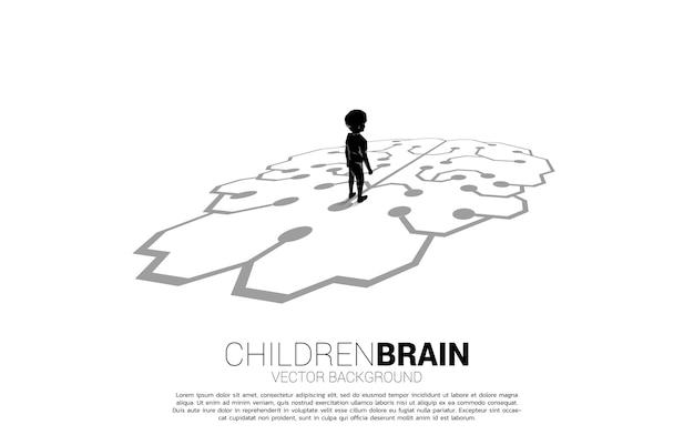 Niño de pie sobre el cerebro en el suelo. banner de solución educativa y futuro de los niños.