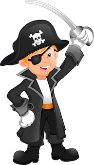 Niño pirata de dibujos animados