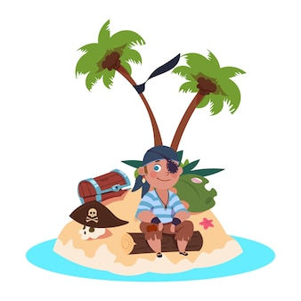 Niño pirata se sienta en la isla del tesoro - personaje de dibujos animados ilustración vectorial
