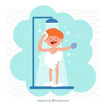 Niño que toma una ducha