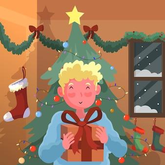 Niño, recibiendo, un, regalo de navidad