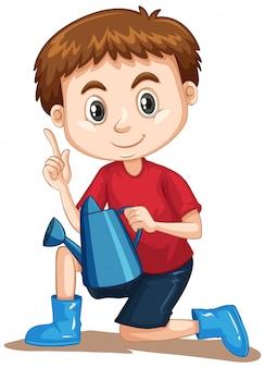 Niño con regadera y botas azules