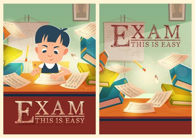 Niño resuelve el examen de aprobación de prueba en carteles de dibujos animados de la escuela