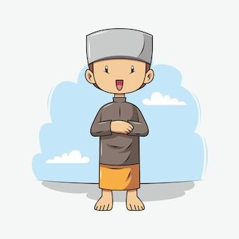 Un niño está rezando dibujos animados