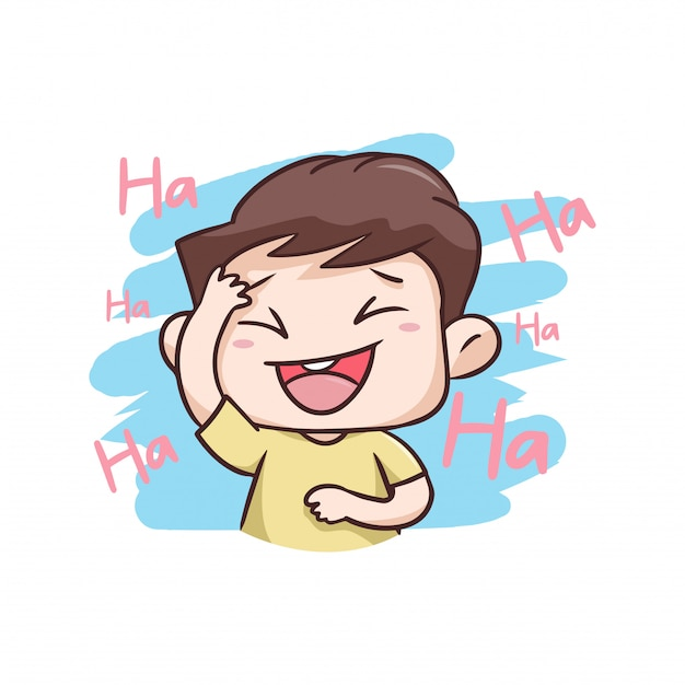 Un niño riendo muy feliz ilustración