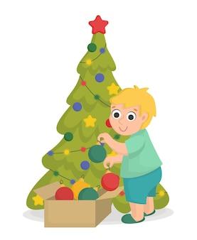 Un niño saca juguetes navideños de una caja. personaje de año nuevo en estilo de dibujos animados.
