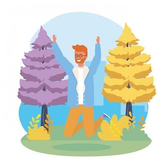 Niño saltando con pinos y plantas.