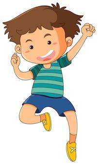 Niño saltando sobre fondo blanco