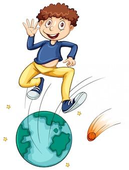 Niño saltando sobre globo terráqueo