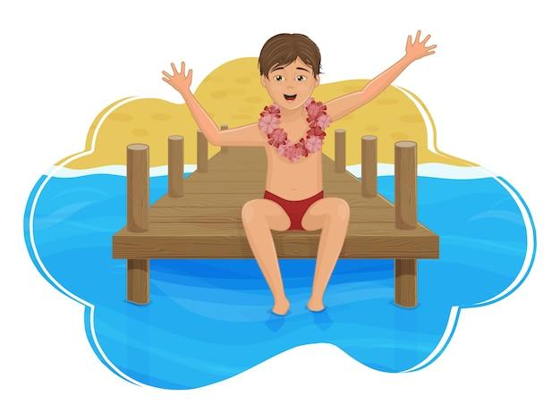El niño está sentado en el muelle, con el fondo del mar y la playa. isla del paraiso. estilo de dibujos animados.