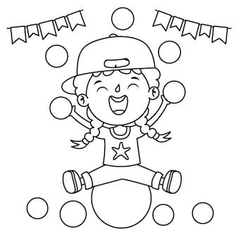 Niño sentado en una pelota con decoración festiva, dibujo de arte lineal para niños, página para colorear
