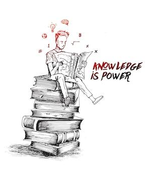 Niño sentado en la pila de libros con libros de lectura ilustración de vector de boceto dibujado a mano