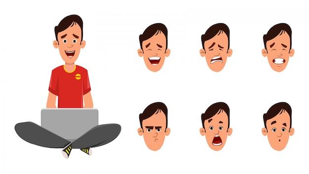 Niño sentado en el suelo y trabajando en una computadora portátil con diferentes tipos de expresión facial