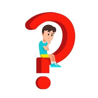 Niño se sienta en un signo de interrogación y piensa en una solución