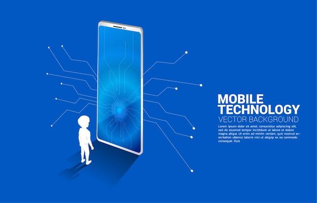Niño de silueta de pie con gran teléfono móvil y cpu. ilustración empresarial de tecnología móvil y niños.