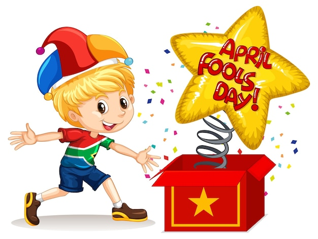 Un niño con sombrero de bufón con la fuente april fool's day de la caja sorpresa
