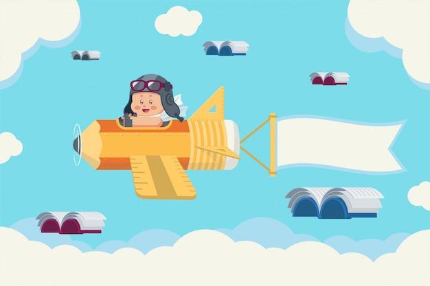 Niño con sombrero piloto retro y gafas en avión de papelería con banner