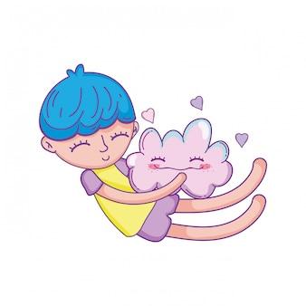 Niño soñando en el cielo de dibujos animados